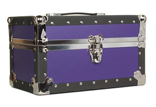 Gilbin Summer Camp and College Dorm Mini Storage Trunk Organizer Keepsake Box Treasure Chest Footlocker Size 14' L x 8' H x 8' W Purple