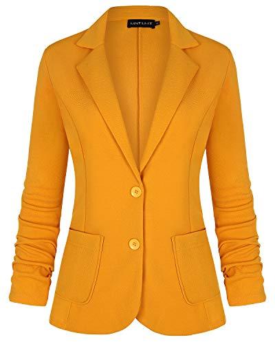 MINTLIMIT Damen Casual Arbeit Knit Büro Blazer Jacke mit Seitentaschen(Gelb,Größe XL)