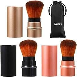 top 10 retractable kabuki brush SchmuckWir 3 Color Cosmetics Beauty Cosmetics Mineral Powder Brush Travel Retractable Kabuki…