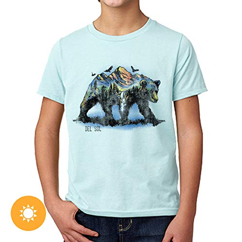 Del Sol Youth Boys Premium Crew Tee - Bear Scene, Ice Blue T-Shirt - Changes from Black to Vibrant Colors in The Sun - 100% Combed, Ring-Spun Cotton, Relaxed Fit - Size YS