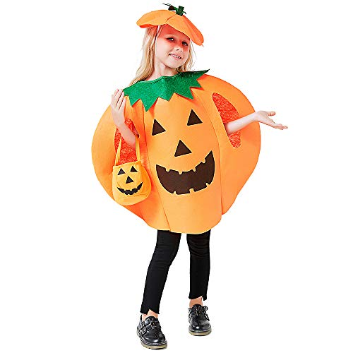 3PCS Halloween Pumpkin Costume for Kids Children Halloween Pumpkin Cosplay Party Clothes With A Hat,A Bag