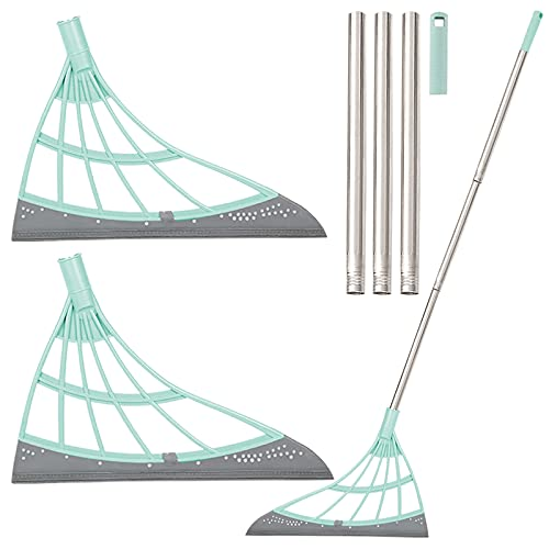 Multifunction Magic Broom, 2 Pack Indoor Silicone Broom Sweeper, Glass Wiper, Floor Squeegee Adjustable Silicone Mop, for Wash Floor Clean Tools Windows Scraper Pet Hair Sweeping Brush (Green)