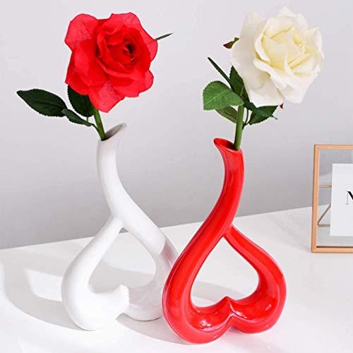 BESPORTBLE Blumensockel Dekor Kreative Einfache Exquisite Herzförmige Desktop-Dekor für zu Hause Wohnzimmer Büro Fenster Ornament 1Pc (Rot)