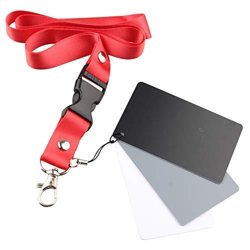 Jopto Graukarte für manuellen Weißabgleich und Belichtungsmessungskarte, Fotokarte, 18% Belichtung, individuelle Kalibrierung, Kamera-Checker, Video, DSLR und Film, 3 Karten, Farbkorrekturwerkzeug