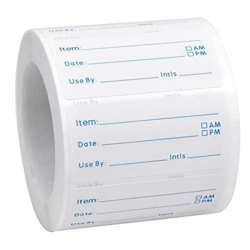 Chstarina 500 Pezzi Etichette Stoccaggio Autoadesivi per Alimenti Data Adesivi Etichette per Alimenti Etichette su Rotolo per Congelatore 50×25 mm per Ristorante Domestico