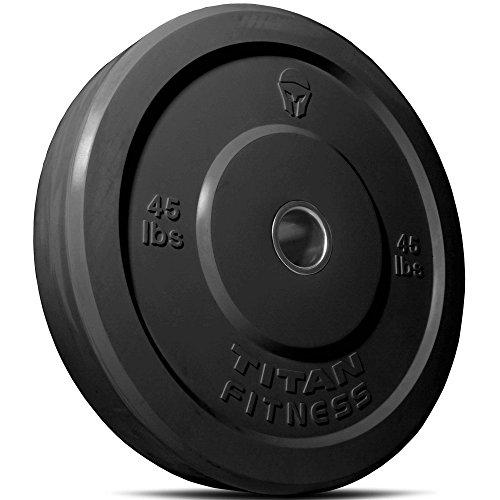 Titan Fitness 45 lb Olympic Bumper Plate Black Benchpress Strength Training