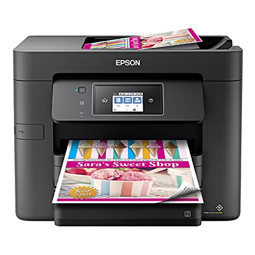 """Epson Workforce Pro WF-3732 All-in-One Wireless Color Inkjet Printer, Black - 4-in-1 Print Scan Copy Fax - 20 ppm, 4800 x 2400 dpi, 2.7"""" Touchscreen LCD, Auto 2-Sided Print, CBMOUN Printer Cable"""