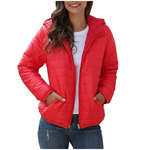 KaloryWee 2019 Herbst Winter Damen Daunenjacke mit Kapuze Leichtgewicht Einfarbig Warme Jacke Kapuzenpullover 2XS-4XL