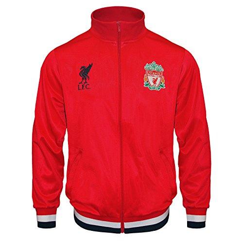 Liverpool FC - Jungen Trainingsjacke im Retro-Design - Geschenk für Fußballfans - Rot - Zwei Wappen - 12-13 Jahre