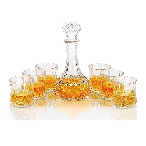 AIEL Whisky Jarra de Cristal de Whisky Jarra y Vasos, Decorado, 600ml Cristal de Plomo Libre de Whisky Jarra con el Whisky 6 Vasos de 300 ml, Elegante Bebidas decoración de la Barra Tabla Inicio 45