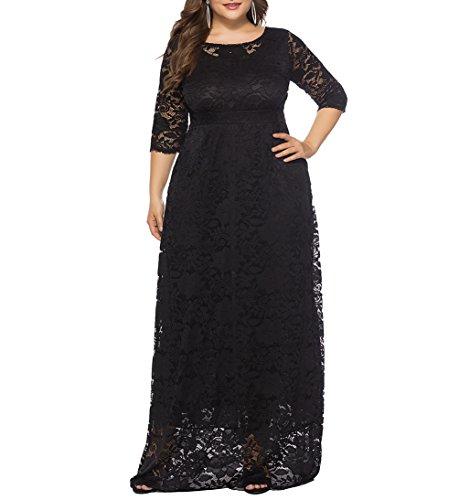 Eternatastic Womens Floral Lace 2/3 Sleeves Maxi Dress Evening Party Long Dress 4XL Black