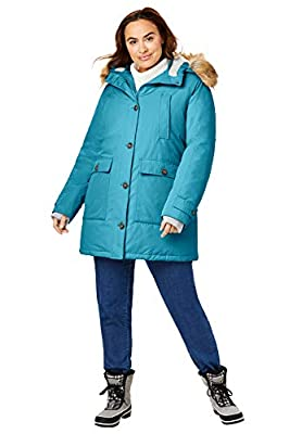 Woman Within Women's Plus Size The Arctic Parka8482; - 3X, Deep Teal by Woman Within