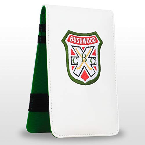 Golf Logo Shield White Leather Golf Scorecard & Yardage Book Holder Cover Also can Customize Your Name Version (Normal One)