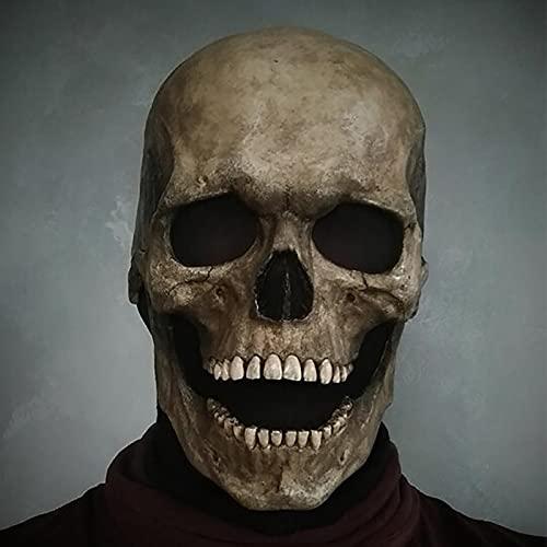 Full Head Skull Mask/Helmet with Movable Jaw,Skull Mask,Halloween mask Call of Duty Mask,back to school (Gray(Hard glue))