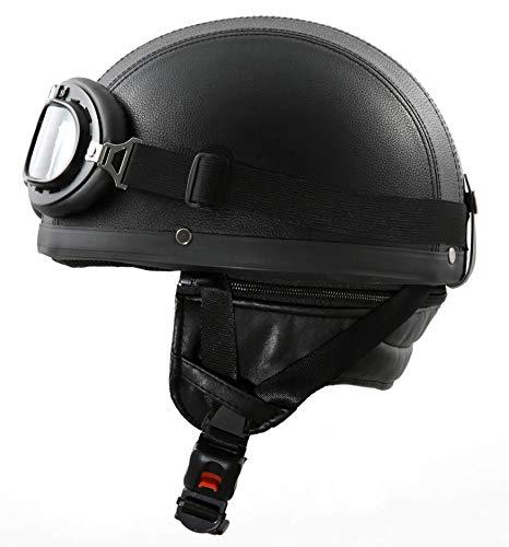 ATO-Moto Retro Oldtimer Helm mit Leder bezogen und Fliegerbrille Größe (M 57/58cm)