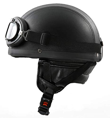 ATO-Moto Retro Oldtimer Helm mit Leder bezogen und Fliegerbrille Größe (XL (61cm))