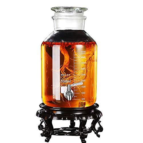 Einmachglas für Getränkespender aus Glas mit Metallzapfen und Glasdeckel, 5 l / 10 l, Harzboden (Farbe: 10 l, Größe: Edelstahlzapfen),Weinschränke