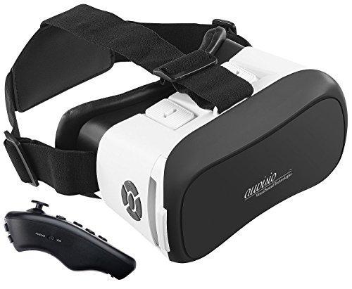 auvisio Video Brille: Virtual-Reality-Brille mit Bluetooth und 2in1-Mini-Game-Controller (3D-VR-Brille für Smartphones)