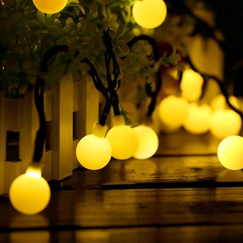Guirnalda Luces Exterior Solar, Guirnalda Luces de 60 Globos en Exterior de 10M con 8 Modos, Luces Decorativas Exterior Impermeable IP65, Decoración para Navidad, Boda, Fiesta, Jardin, Interior