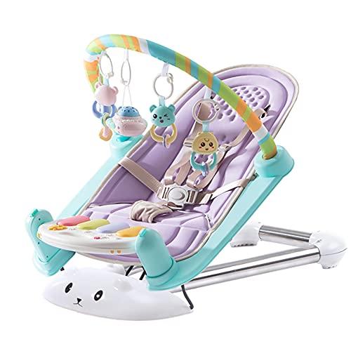 LYXCM Columpio para bebés para bebés, Silla Hamaca de Altura Ajustable con Juguetes Música | Patada de bebé Multifuncional y tapete de Actividad de Gimnasio Piano para recién Nacidos,Púrpura