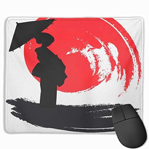 Nettes Gaming-Mauspad, Schreibtisch-Mauspad, kleines Mauspad für Laptop-Computer, Mausmatte Aquarell Japan Geisha Japanischer asiatischer Pinsel Regenschirm Mädchen Tanz Kimono Prin