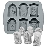 3D Halloween RIP Gravestone for DIY Cake Fondant Baking Soap Ice Cube Trays Chocolates Hard Candies Desserts Drop Glue Decor Silicone Mould Mold Tool