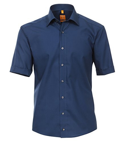 Redmond Herren Popeline Hemd unifarben Modern Fit 100& Baumwolle