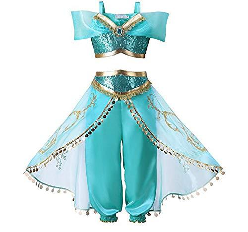 GTKC Ragazza di Halloween Jasmine, la Principessa Cosplay Vestito di Teatro Danza Costume Due pezzi del set 120