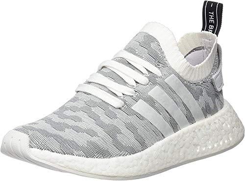 adidas Damen NMD_R2 Primeknit Sneaker, Weiß (Footwear White/Footwear White/core Black), 38 2/3 EU