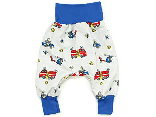 Kleine Könige Pumphose Baby Jungen Hose · Modell Feuerwehr Polizei Rescue Cars grau, Royalblau · Ökotex 100 Zertifiziert · Größe 110/116