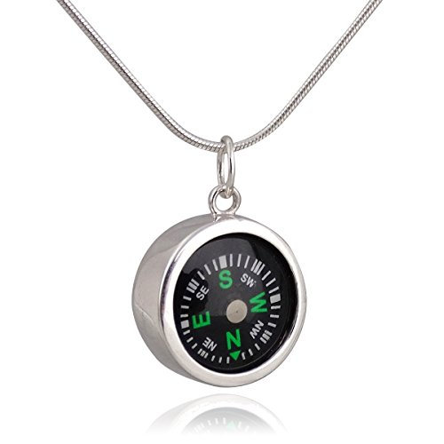 FashionJunkie4Life Sterling Silver Small Working Compass Pendant Necklace, 18