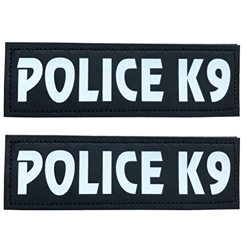 Removable Dog Patches for Vests & Harness - Reflective / 2' x 6' Large White Letter/2 Pack ,Police