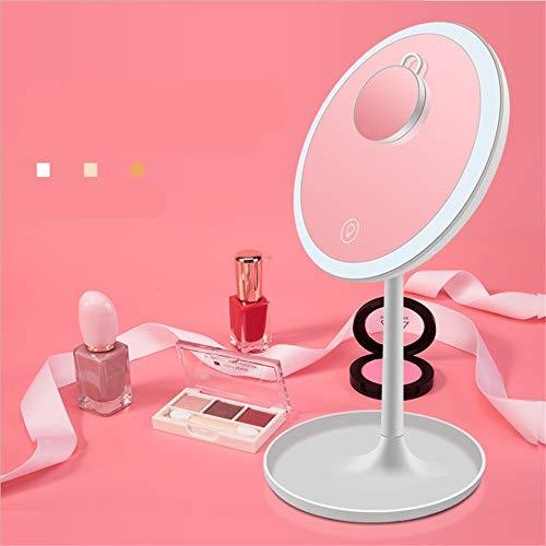 GOCF Miroir De Maquillage Portable 3 Luminosité USB Rechargeable Desktop Maquillage Vanity Miroir avec lumière Amovible 5 Fois Grossissement pour Le Maquillage De Comptoir