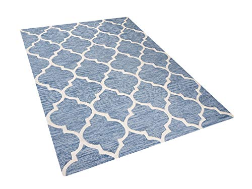 Wohnzimmerteppich Hellblau - 160x230 cm - Wollteppich - Vorlage - Baumwolle - YALOVA