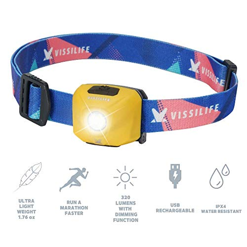 VISSILIFE Sugar Cube Headlamp for Running- Rechargeable LED Head Lamp, 320 Lumens, Dimmable, IPX4, Lightweight, Perfect for Camping, Hiking, Night Running (Sunny Yellow)