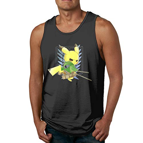 Yerolor Pikachu Attack On Titan Muscle Gym Workout Sleeveless Shirt Tank Tops for Men