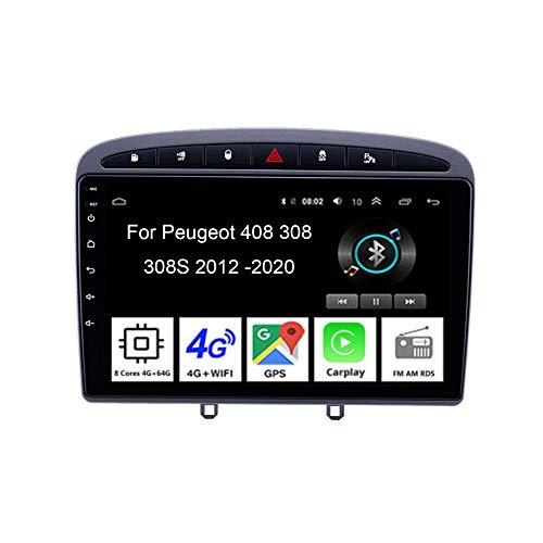 Autoradio Android Car Radio Stereo 9 Pulgadas Pantalla Táctil para Peugeot 408 308 308SW 2012-2020 para De Coche Conecta Y Reproduce Autoradio Mit Bluetooth Freisprecheinrichtung,4Cores 2G32G