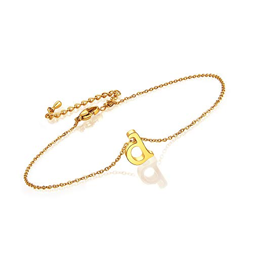 BOCHOI D Initial Letter Anklet Ankle for Women Teen Girls Girlfriend Aunt Wife Fiancee Bridesmaid Gold Plated Stainless Steel Jewelry Birthday Gift