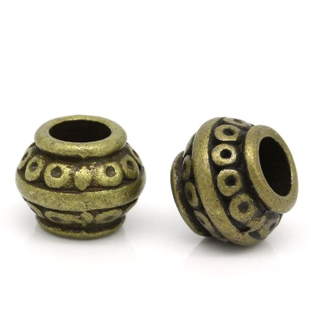 50pc Antiqued Bronze Dot Spacer Beads Large Hole Fit European Bracelet