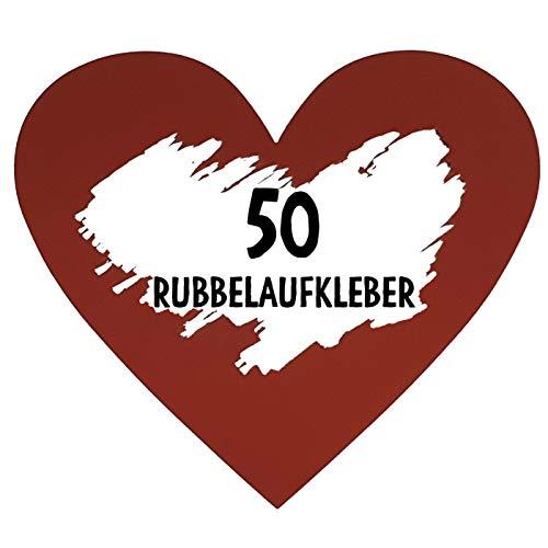 50 Rubbel Etiketten Herzen Rot zum Basteln von Rubbelkarten Rubbellose Überraschungen Gutscheinkarten Einladungen Hochzeit oder Verkündung von Schwangerschaft