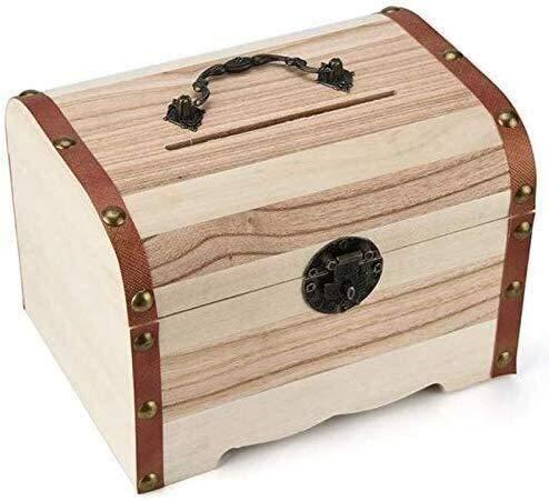 Gwgbxx 1 Unid Hucha De Madera Safe Money Box Savings Lock Talla De Madera Caja De Almacenamiento De Monedas Hecha A Mano 17.3cmx13cmx12.1cm