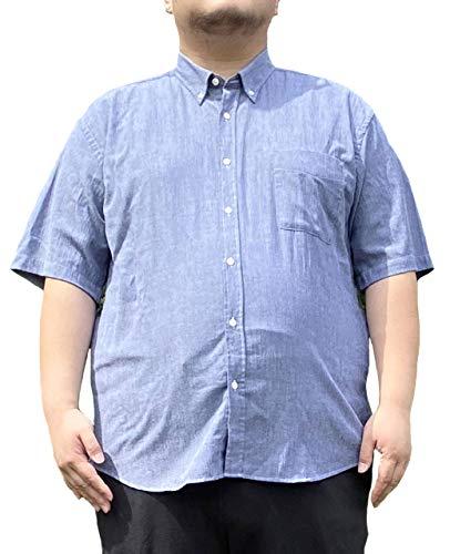 [カンタベリーウッド] ボタンダウンシャツ 大きいサイズ メンズ 麻 無地 吸水速乾 半袖 リネン ブルー 4L