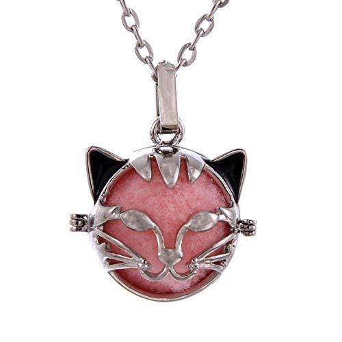 Preisvergleich Produktbild Aromatherapie-Anhänger Katzenform Hohlkäfig Filigrane Ball Box Diffusor Halskette Medaillon Anhänger Für Diy Parfüm Ätherisches Öl Schmuckzubehör