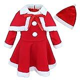 MSemis Vestido Navideño para Bebés Disfraz Mamá Noel Bebés Niñas Capa Roja y Sombrero Vestido Fiesta Rojo Papá Noel Traje Christmas Nochebuena Rojo 3 años