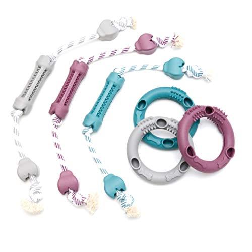Diggar Hunde Zahnpflege-Spielzeug 2er Set Knochen mit Seil + Ring für Leckerlies Zahnfleisch Zerr- und Apportierspielzeug Robustes Spielzeug (GRAU)