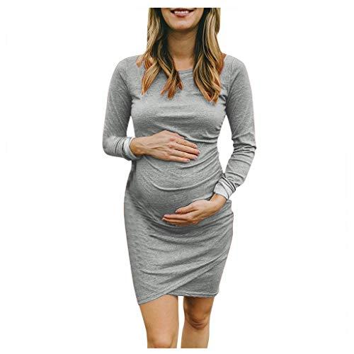 Mujeres Embarazadas Vestidos Ajustado Calido Ropa Premamá de Manga Larga Suave y Confortable Casual Vestido de Fiesta Bodas para Primavera Otoño Invierno Fannyfuny