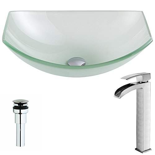 Modern Tempered Glass Vessel Oval Sink with Single Hole in Lustrous Frosted and Single Handle Enti Bathroom Sink Faucet in Brushed Nickel | Pendant LSAZ085-096B by ANZZI