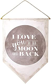 Canvas Wall Banner Love You To the Moon and Back Decorative, 22 Inch