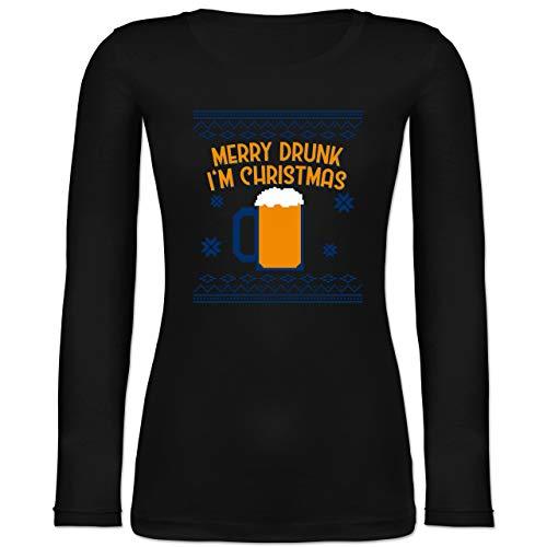 Weihnachten & Silvester - Ugly Christmas Merry Drunk I'm Christmas - XXL - Schwarz - Alkohol - BCTW071 - Langarmshirt Damen