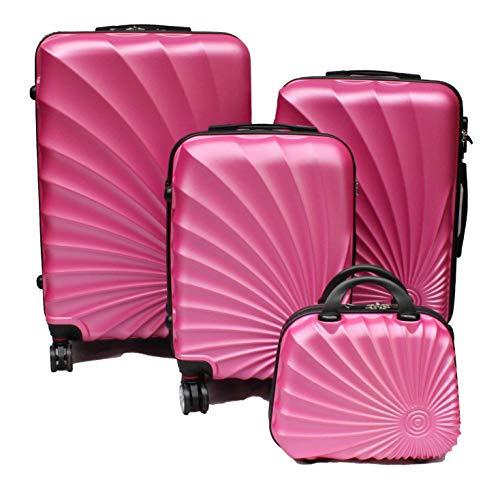 R.Leone Valigia da 1 pezzo Fino a Set 4 Trolley Rigido grande, medio, bagaglio a mano e beauty case 8 ruote in ABS 2092 (Rosa chiaro, M Media)